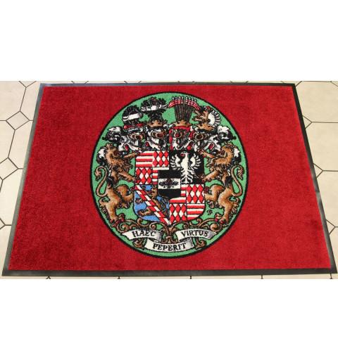 Tuto překrásnou logovou rohož pro zámek v Dobříši jsme zajišťovali z jiné kvality, foto je zde pro ukázku našich možností.